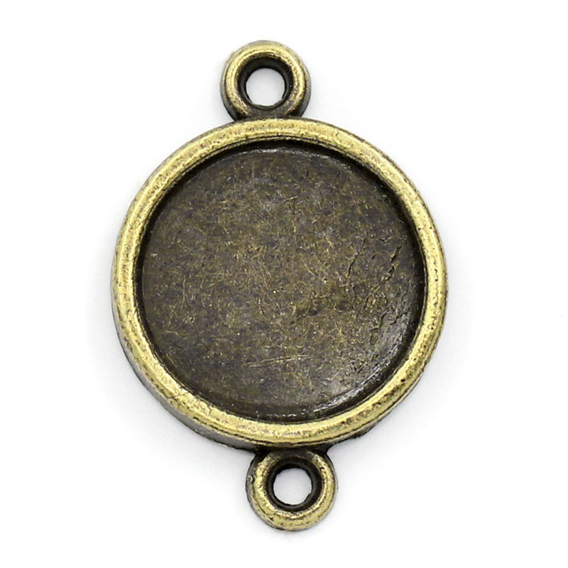 DoreenBeads Zinc metal alloy Connectors Round Antique Bronze Cabochon Settings (Fits 14mm ) 25mm(1) x 17mm( 58), 5 PCs