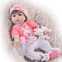 Прекрасный 55 см милые возрождается Мягкие силиконовые новорожденных кукла для девочки 22 ''прекрасный Reborn Baby Doll ткань тела детей рождественс