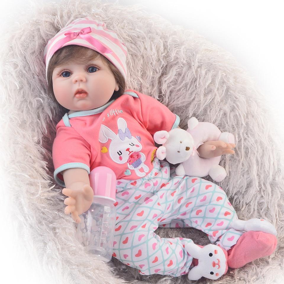 Belle 55 cm Mignon Reborn Doux Silicone Nouveau-Né Poupée Pour Fille 22 ''belle Reborn Bébé Poupée Corps En Tissu Enfants cadeaux de noël