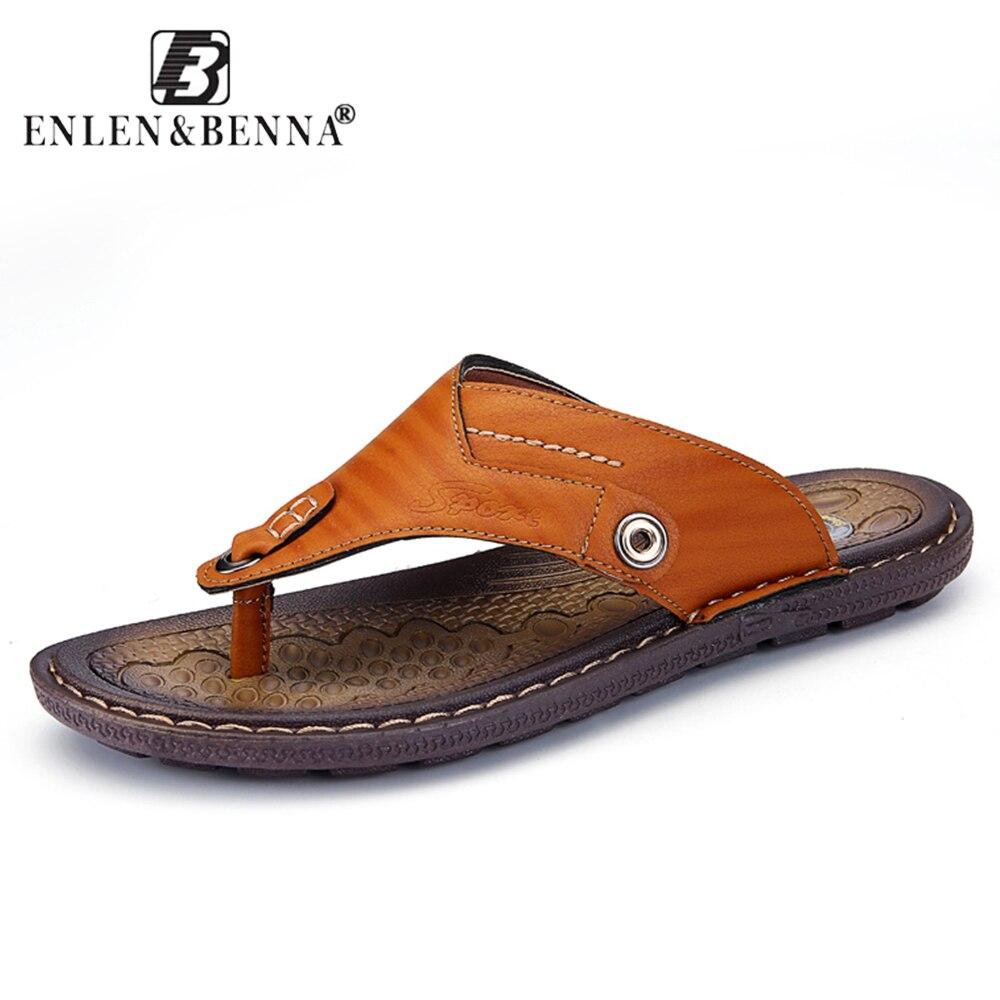 EnlenBenna Summer Flip Flops Men Casual Slipper Beach Rubber Sole Male Outdoor Shoes Sneaker Leather Flat Sandals Large Size