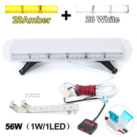 30'' 56 LED White Amber Emergency Light Warning Truck Strobe Tow Bar Roof Bolt Professional Emergency Light Car Auto Lighting