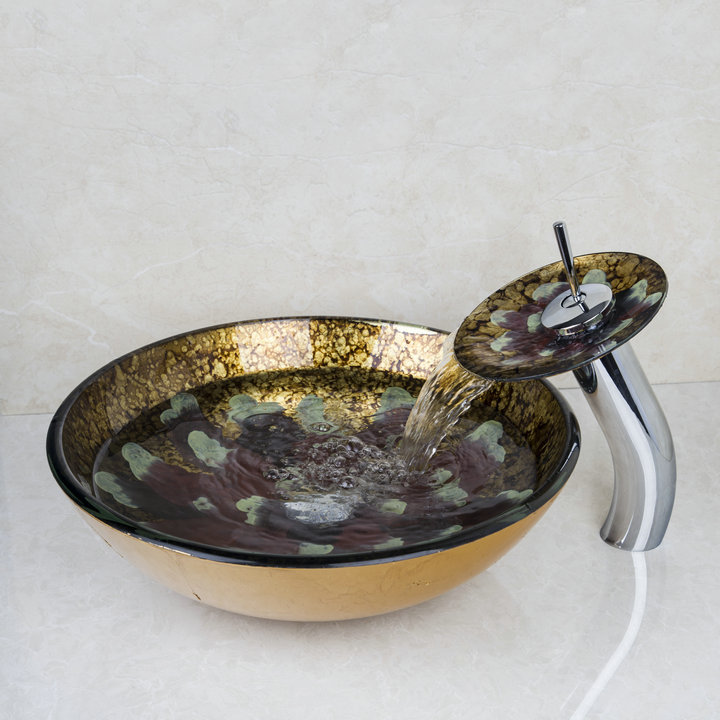 цены New 4213-1 Flower Bathroom Sink Washbasin Glass Hand-Painted+Waterfall Brass Tap 4278-1 Bath Sink Combine Set Tap Mixer Faucet