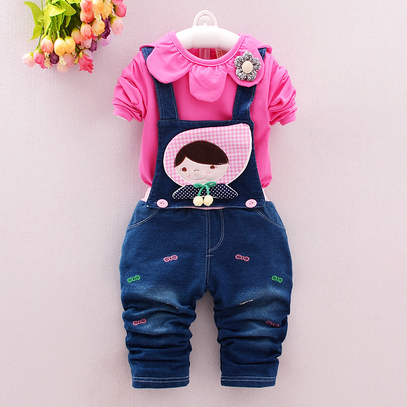 New 2019 Spring baby girls clothing sets 0 2 years fashion infant cotton long sleeve T shirt +pant 2pcs overalls suits