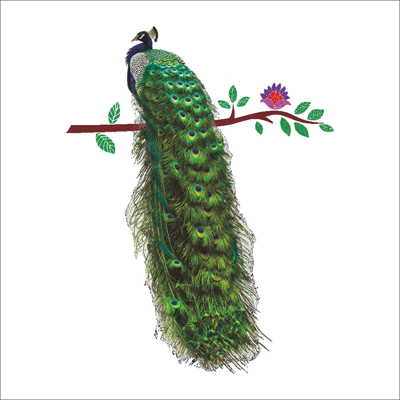 2019 New Styles Peacock Animal 3D Wall Sticker for Living Room Bedroom Creative Removable Wall Stickers Room Decoration