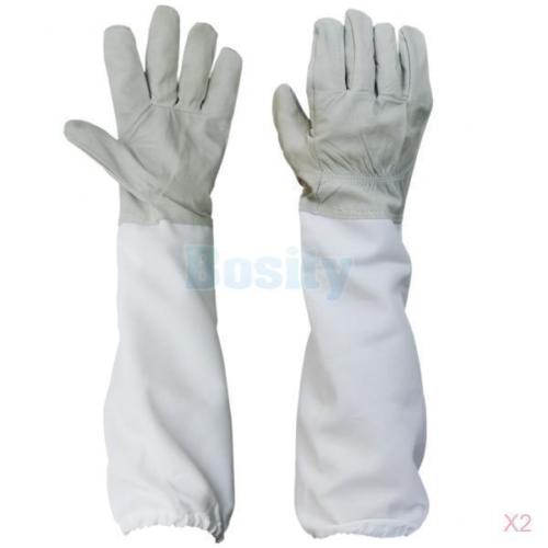 2 Pairs Protective Beekeeping Gloves Goatskin Bee Keeping Vented Long Sleeves комплектующие для кормушек ice 2 beekeeping entrance feeder