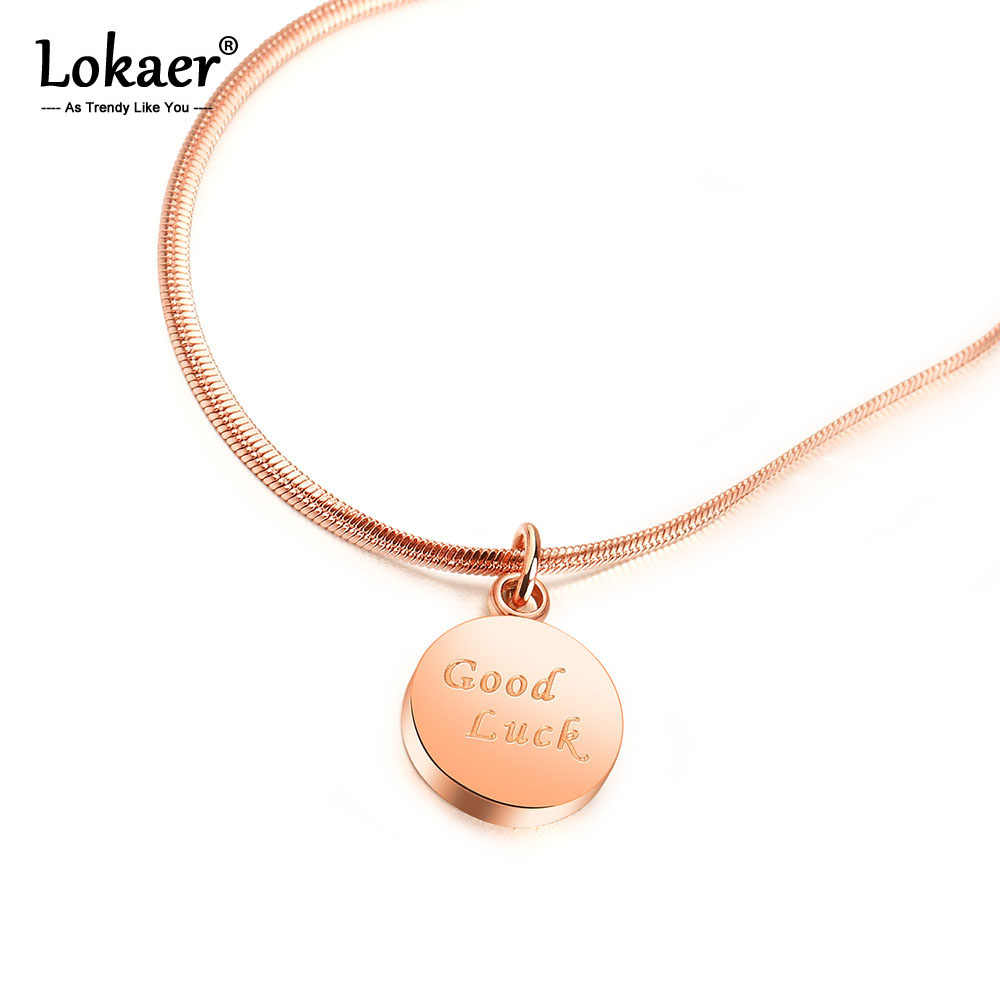 Lokaer Trendy Stainless Steel Rose Gold Love Custom Good Luck English Letter Pendant Necklace Women Party Xmas Gift OGX1469