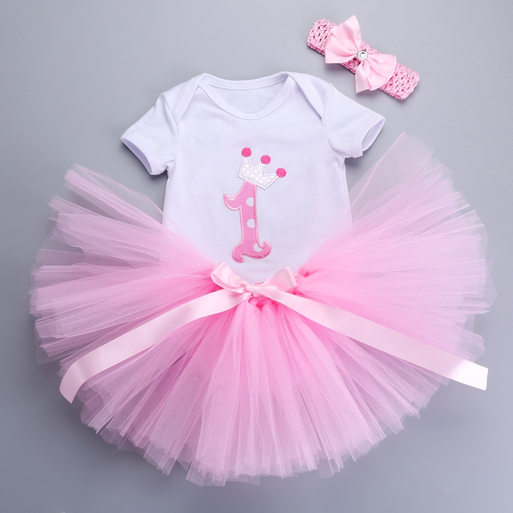 2016 Newborn Girls Summer Dress Headbands Set 1st Birthday Tutu Dress Para Bebe Robe Girl