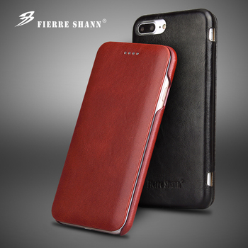 Fierre Shann Super Luxury Genuine Leather Cases for iPhone 6 6S 7 7plus 8 8plus 11 Pro X XR XS Max S Flip Phone Case Cover Shell