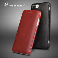 Fierre Shann Super Luxury Genuine Leather Cases for iPhone 6 6S 7 7plus 8 8plus X XR XS Max S Flip Phone Case Cover Capin Shell