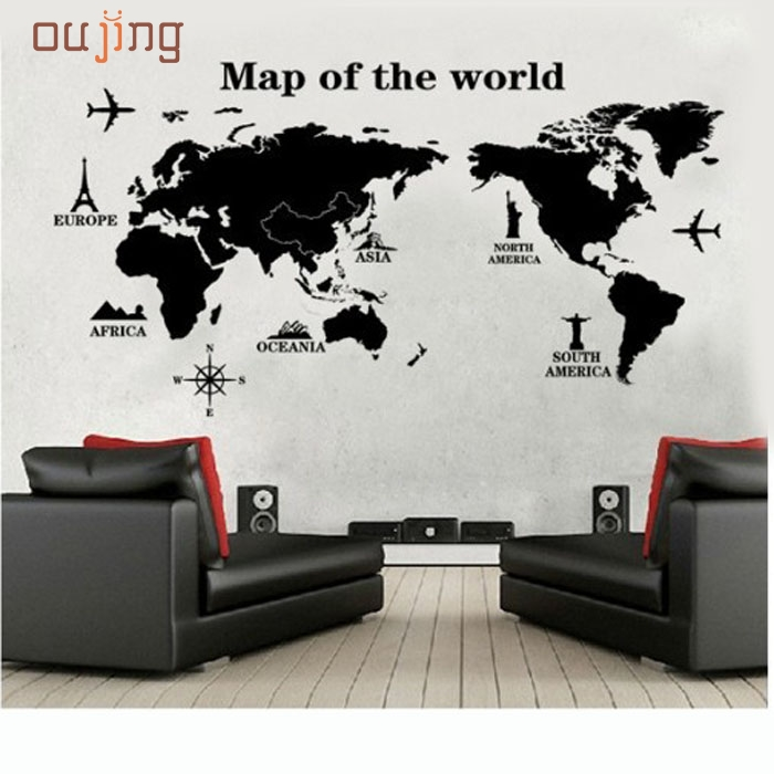 2017 Homey Design DIY World Map Removable Vinyl Quote Art Wall Sticker  Decal Mural Decor Hot Pretty Fine Textile Feb25 Part 58