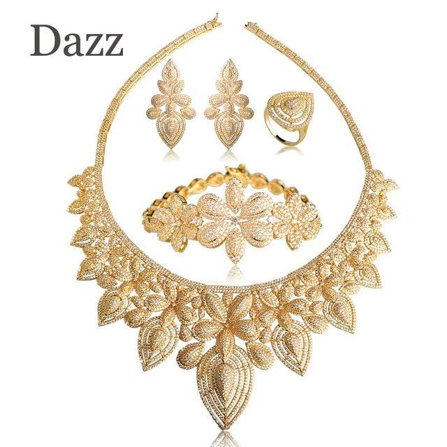 Dazz Hot Large Wedding Choker Necklace Earrings Ring Bracelet Set Gold Color Flower Shape Copper Jewelry Sets Party Women Bijoux