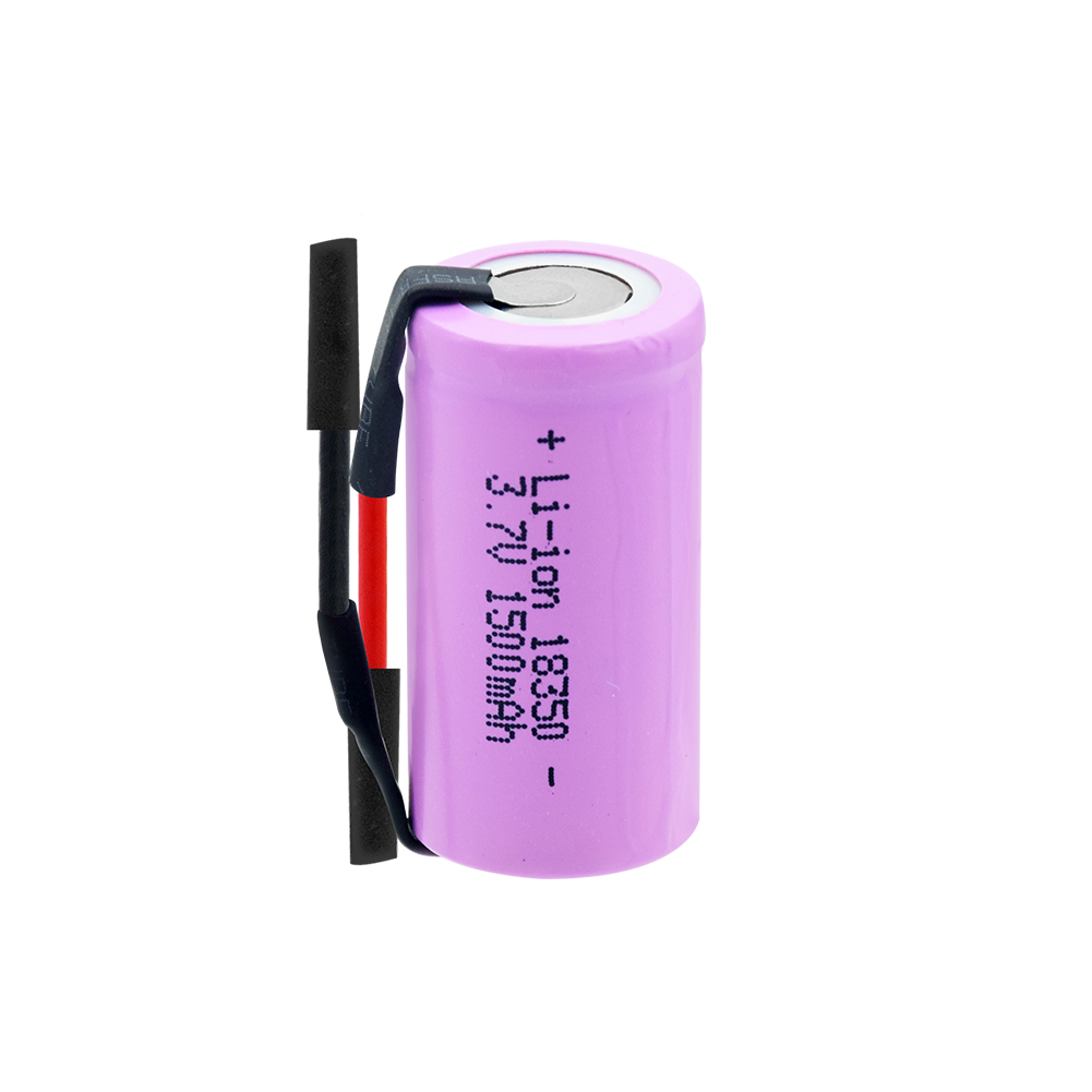 1/2/<font><b>4</b></font> <font><b>pcs</b></font> li-ion <font><b>battery</b></font> 3.7v rechargeable high drain lithium 18350 <font><b>battery</b></font> with wire 3.7v 1500mah for vape flashlight image
