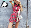 2016 new harajuku unif punk rok style red and black plaid crop tops+skirts set women Iron buckle belt mini skirts