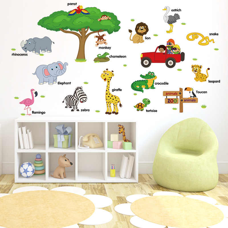 Early childhood education stickers Baby Early Learning Zoo Cartoon Animal English Word Learning Wall Stickers for kids room