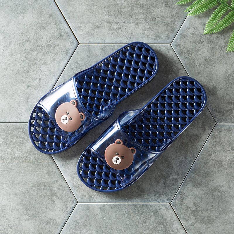 2018 beach slippers men home summer new men's slippers transparent bear pattern male anti-skid wear-resistant shoes direct sales 5