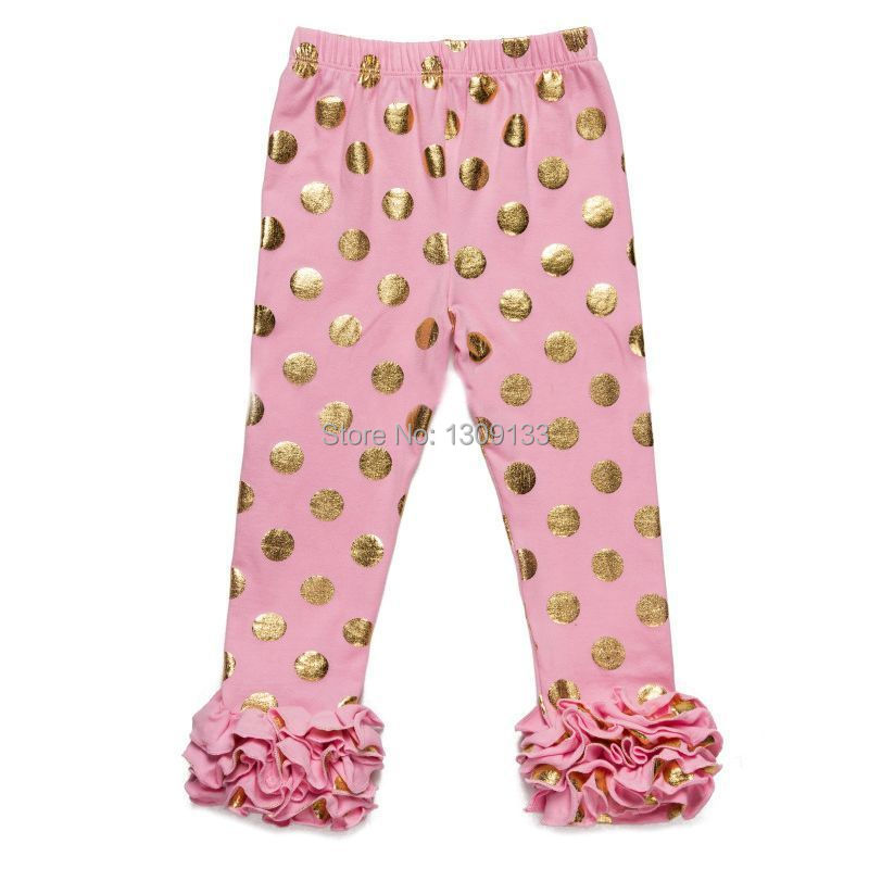 Ruffle Gold Dot Baby Pants Newborn Girls Ruffle Gold