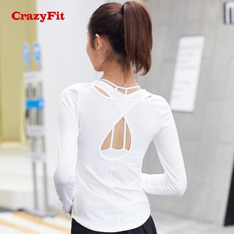 CrazyFit 2018 Sexy Sport Shirt For Women Long Sleeve
