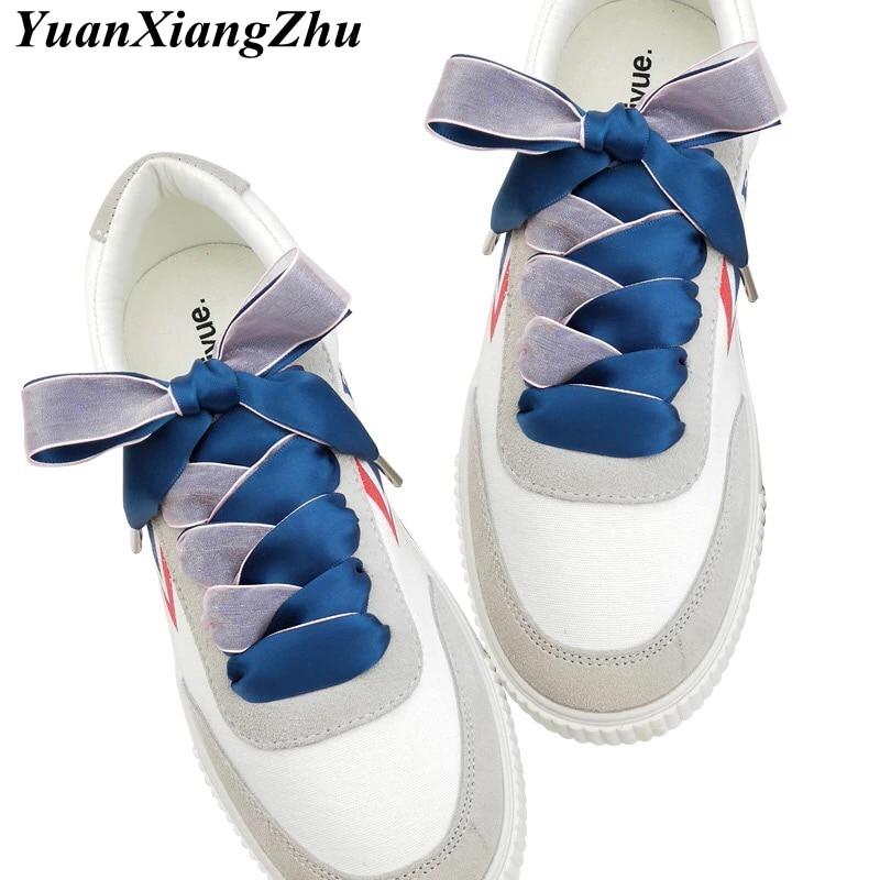 1 Pair 2CM Width 80/100/120cm Double-faced Snow Yarn Satin Silk Ribbon Shoelaces Lace Shoe Lace Fashion Sneakers Shoe Laces lace detail satin slips