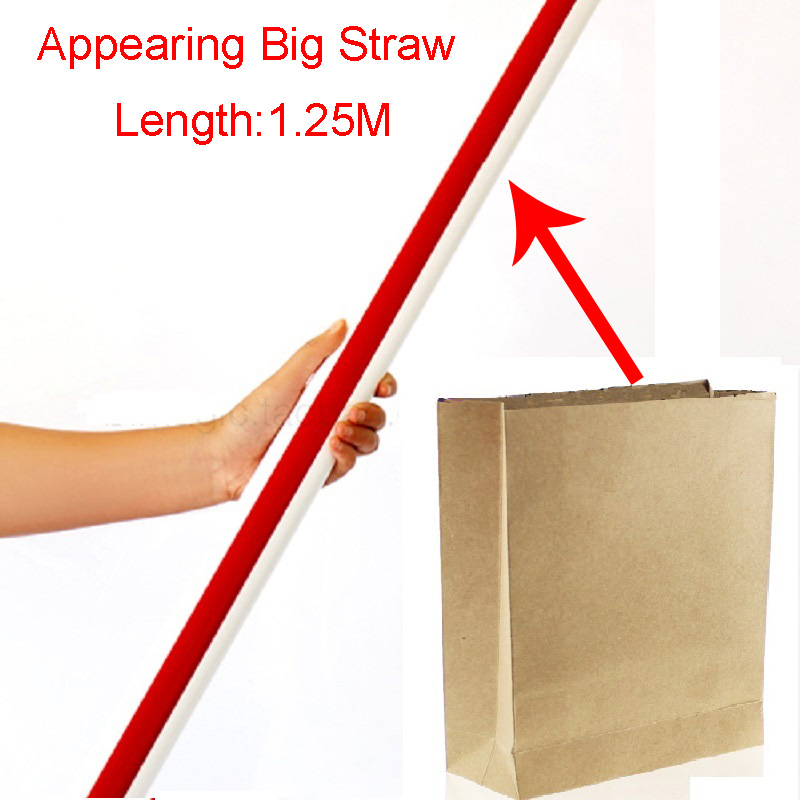 Appearing Big Straw From Empty Bag Hat Sucker 125cm Stage Magic Tricks Close Up Magic Tricks magia Toys Kid Gift Free Shipping