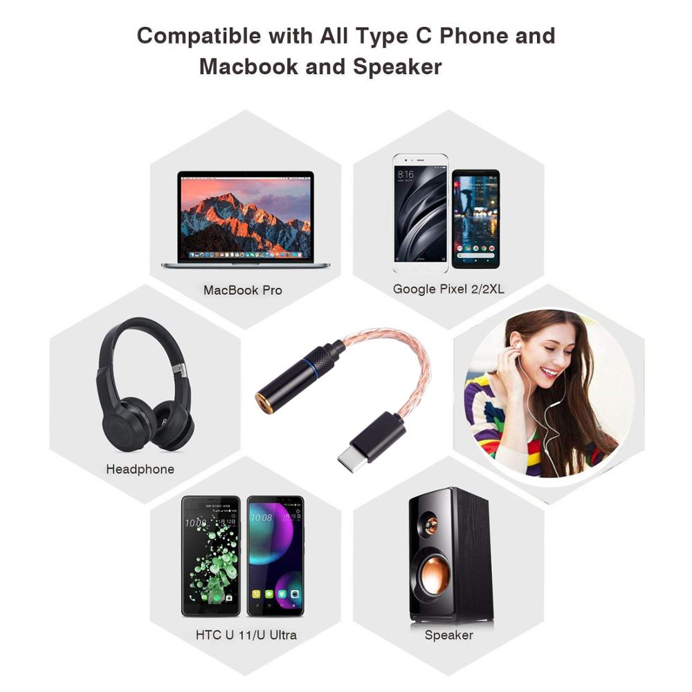 OKCSC 8 Cores Digital Type c Adapter Cable To 2 5mm 4 4mm Balanced Female Interface 3 5mm Mum Audio Copper Silver for Google Pix in Earphone Accessories from Consumer Electronics