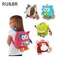 RU&BR Cute Animal Figure Bag Kid Plush School Backpacks Kid Girls Boys Gifts Toy Owl Cow Frog Lion Monkey School Bag Cartoon