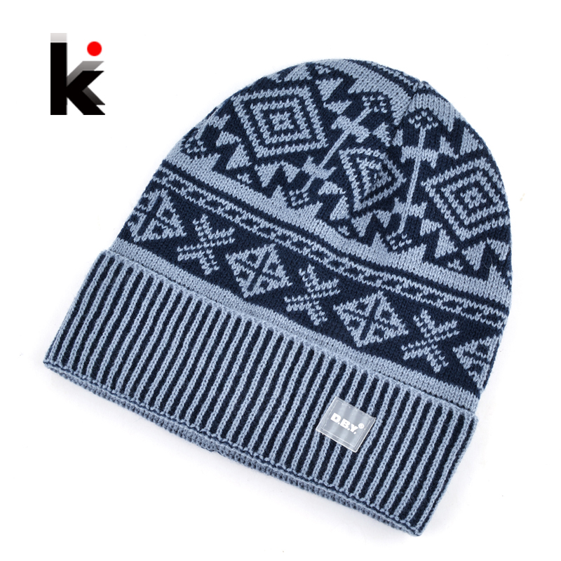 2017 Autumn And Winter Beanie Jacquard Cap Men's Skullies Bonnet Wool Hat Balaclava Knit Hats For men Meanies Chapeau the new children s cubs hat qiu dong with cartoon animals knitting wool cap and pile