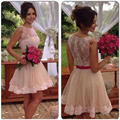 Short Homecoming Dresses 2016 See Through Back Beaded Appliques Lace Homecoming Dress Short Sash Graduation Dresses