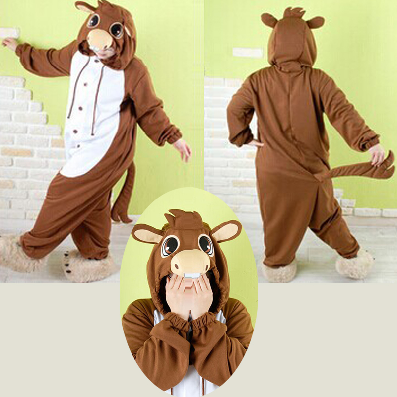 HKSNG Cheap DHL Fleece Kigurumi Brown Donkey Animal Pajamas Cosplay Onesies For Winter Adult Sleepwear Halloween Party Pyjamas