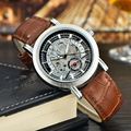 Brand MCE Skeleton Silver Men Mechanical Automatic Watch Brow Leather Mntre Automatique Homme Relogio Male Masculino With Box