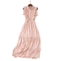 2018 high quality summer beach brand designe dresses for women stringy selvedge long maxi dress holiday wing pink sleeveless xl