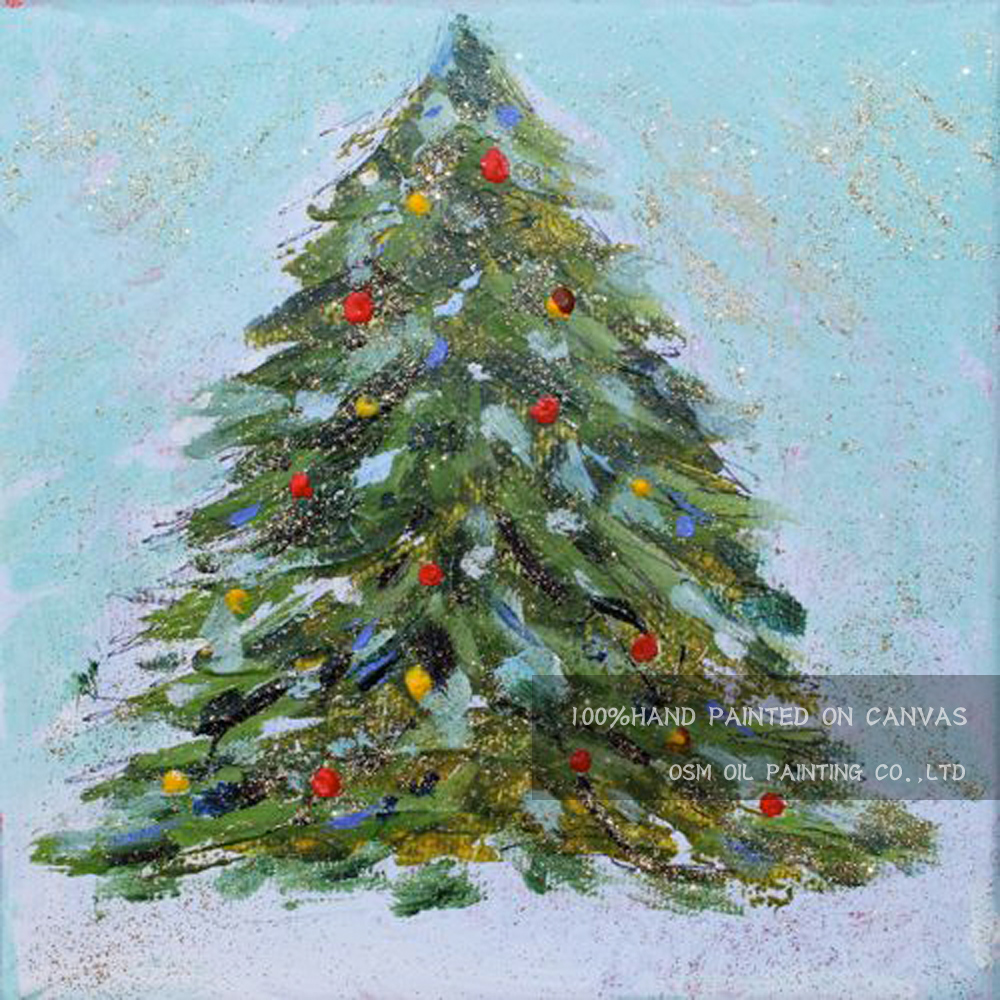 Modern Christmas Trees.Us 16 5 50 Off Top Artist Hand Painted High Quality Modern Christmas Tree Oil Painting For Wall Decoration Christmas Tree Decorative Painting In