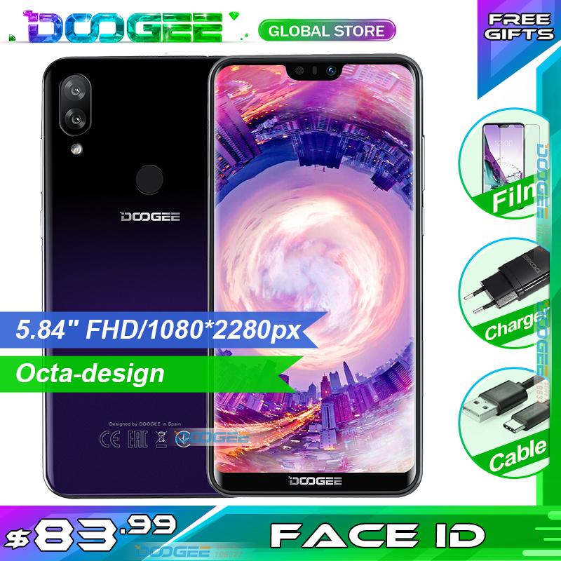 DOOGEE N10 Mobile Phone 3GB RAM 32GB ROM 5.84inch FHD+19:9 Display 16.0MP Camera 3360mAh Android 8.1 4GLTE Smartphone