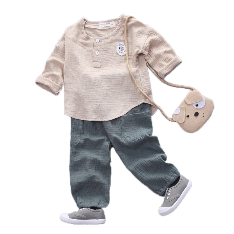 Spring 2pcs Mix Cotton Kids Clothes Set Toddler Boys Girls Top Linen Suits T Shirt Pants Set Summer Children Clothes Linen 1-4T 2017 new summer boys clothes short t shirt pants 2pcs children clothing set casual kids suits for toddler boys page 8 page 4