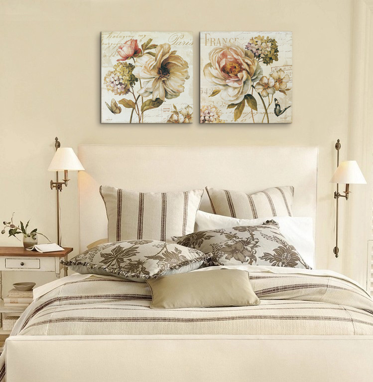 2 pieces chinese rose vintage flowers painting canvas for House decoration pieces