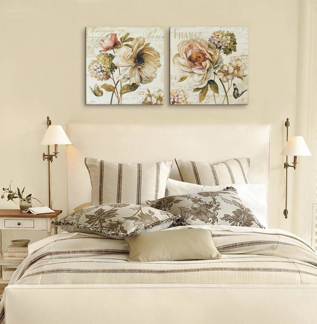 2 pieces chinese rose vintage flowers painting canvas prints wall art pictures on canvas home decor