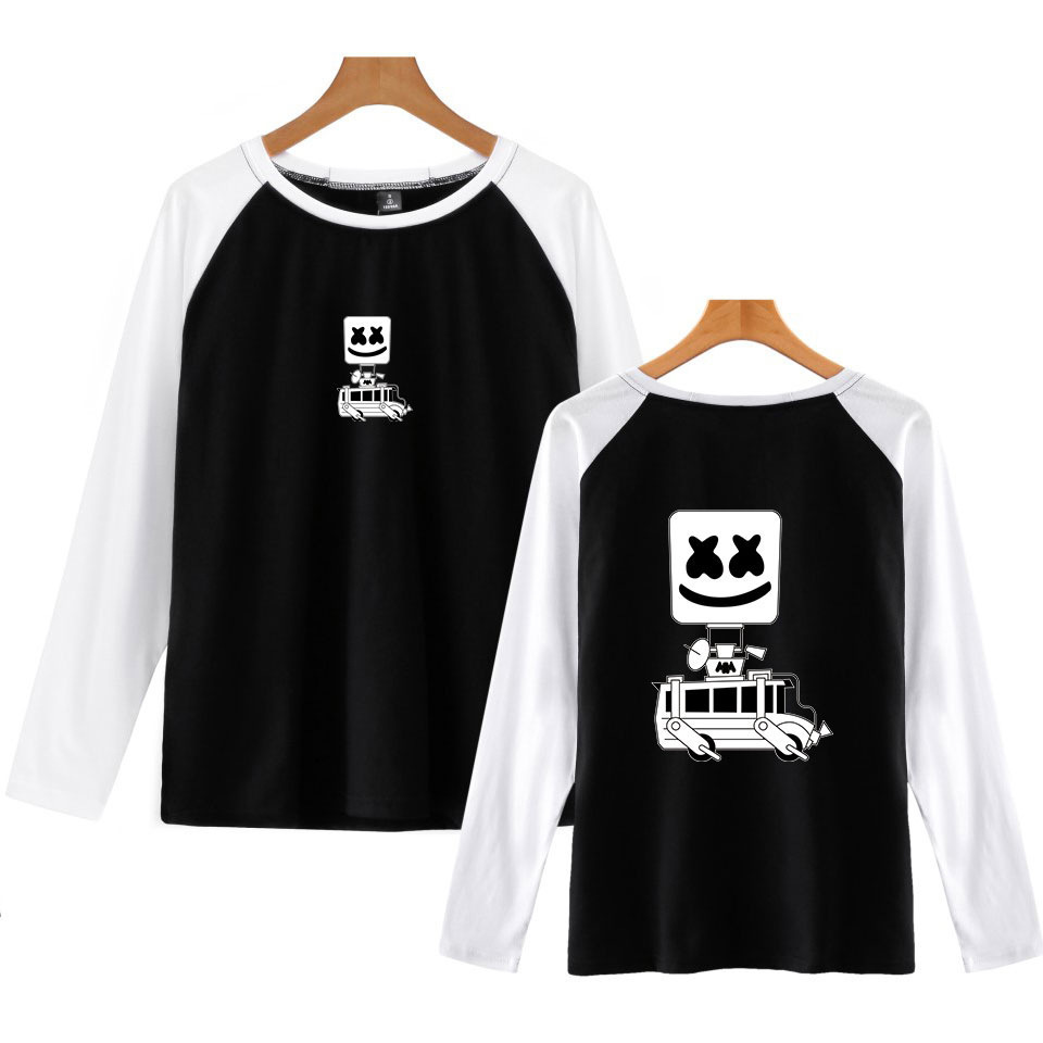 Dj Marshmello T Shirt Men's Long Sleeve Round Neck T-shirts Casual Baseball Tshirt Men Raglan Tee Streetwear Brand Clothing