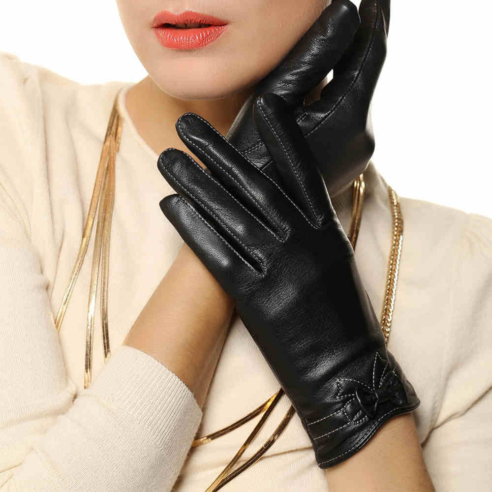 Ladies leather gloves designer - High Quality Women Leather Gloves Elegant Bowknot Fashion Genuine Lambskin Gloves Ladies Brand Designer Hot Trendy L101pq