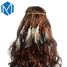 M MISM Feather Headband Women Peacock Rope Boho Hair Accessories Handmade Ethnic Plume Drop Beads Hair Band(China)