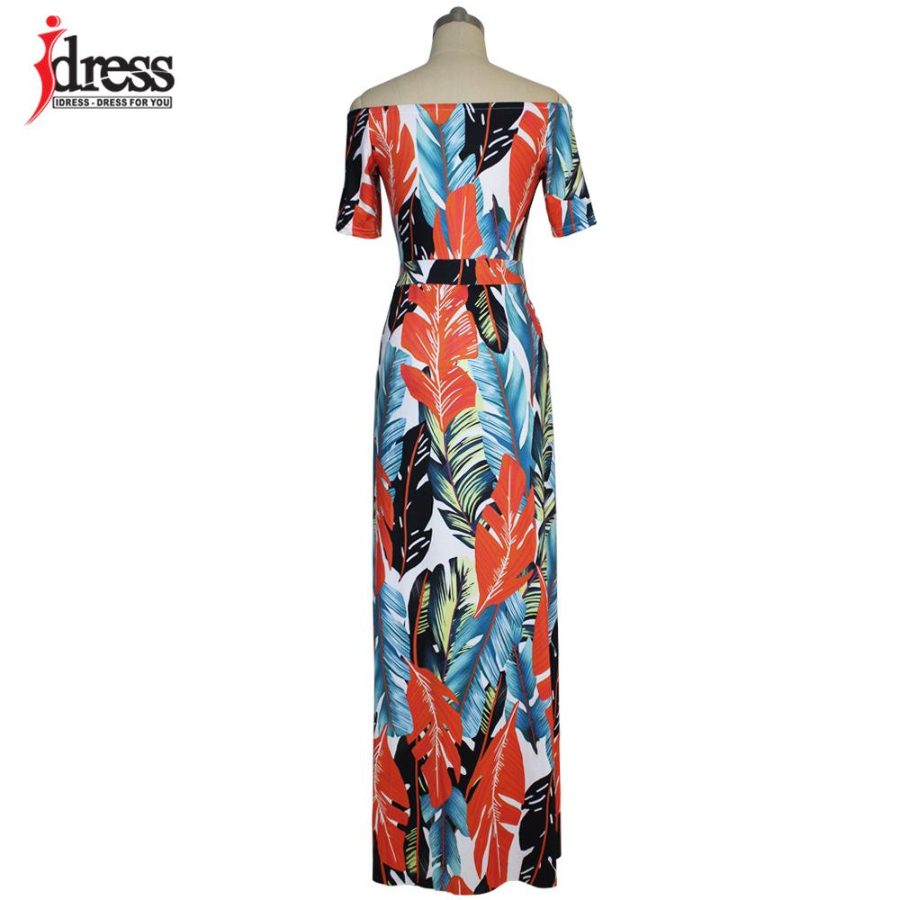 IDress Fashion 2017 Hot Sale Plus Size Casual Slash Neck Pattern Feather Slit Women Maxi Dresses Off the Shoulder Long Dress Vestidos (2)