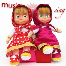 2015 new hot sale Russian Masa Musical Dolls Russian bear Language Music Toys For Girls Russia Christmas Gift free shipping