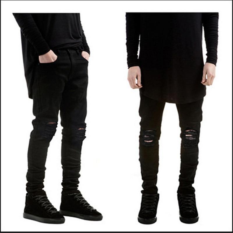 236e661f8 € 30.32  2016 últimos hombres pantalones de diseño a la moda High Street  Style Long men Jeans pantalones de color sólido algodón rasgado hombre ...