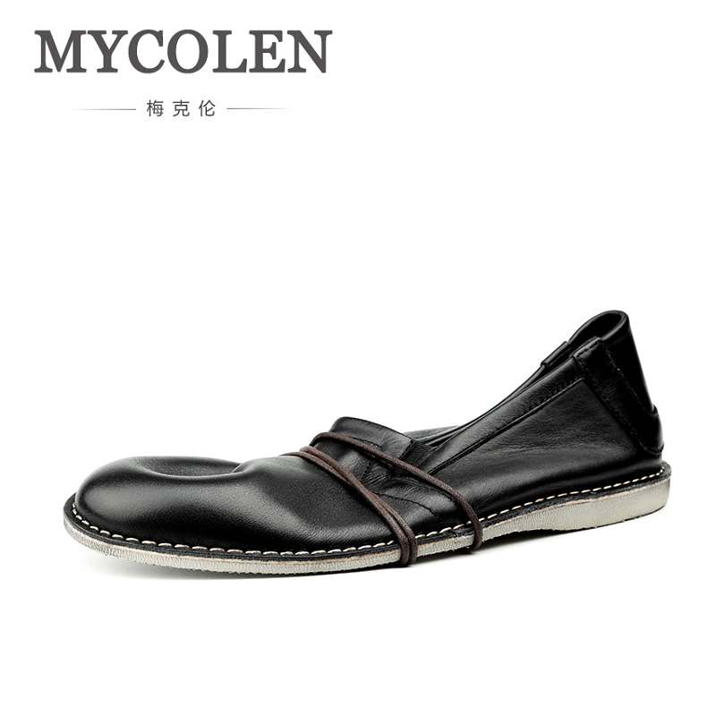 MYCOLEN New Genuine Leather Men Shoes Slip-On Men Casual Shoes Breathable Male Footwear Spring Autumn Mens Loafers Leather mycolen mens loafers genuine leather italian luxury crocodile pattern autumn shoes men slip on casual business shoes for male
