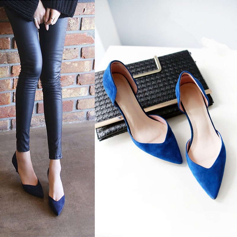 2018 Summer New Fashion Women Sandals Mid Heel 4cm Suede OL Working Shoes Simple Design Elegant Pointed Toe Comfort Casual Shoes elegant women s sandals with suede and stiletto heel design