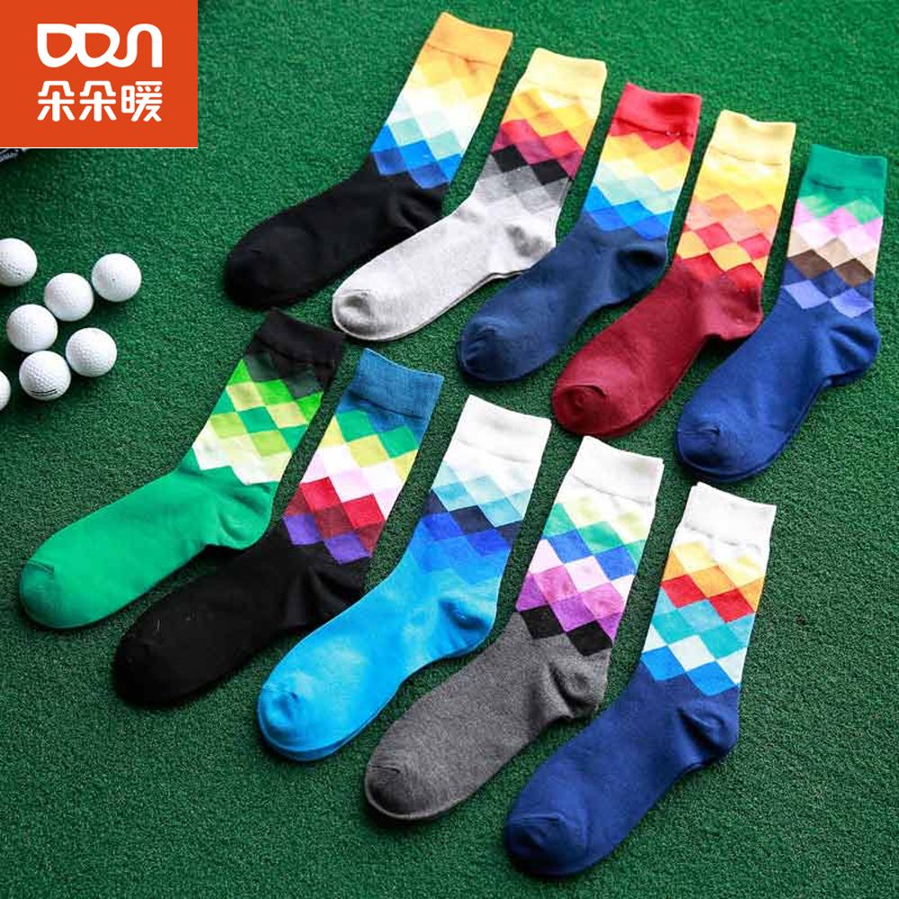 8pcs/lot Brand New Mens Breathable Absorbent Cotton Meias Tide Male Thick Printing Medium Harajuku Socks Multi-color Hot Sale