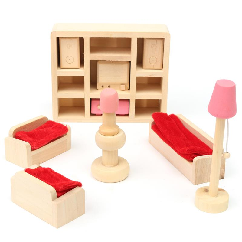 Wooden Pretend Toy Play House Furniture Miniature Bed Living Room Restaurant Bedroom Kitchen Bathroom For Kid Children Dolls