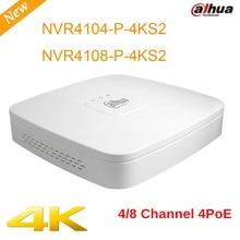 Dahua NVR NVR4104-P-4KS2 NVR4108-P-4KS2 4 k de alta definición 4ch 8chl Inteligente 1U 4PoE H.265 Lite sistema de Grabadora de Vídeo en Red cctv