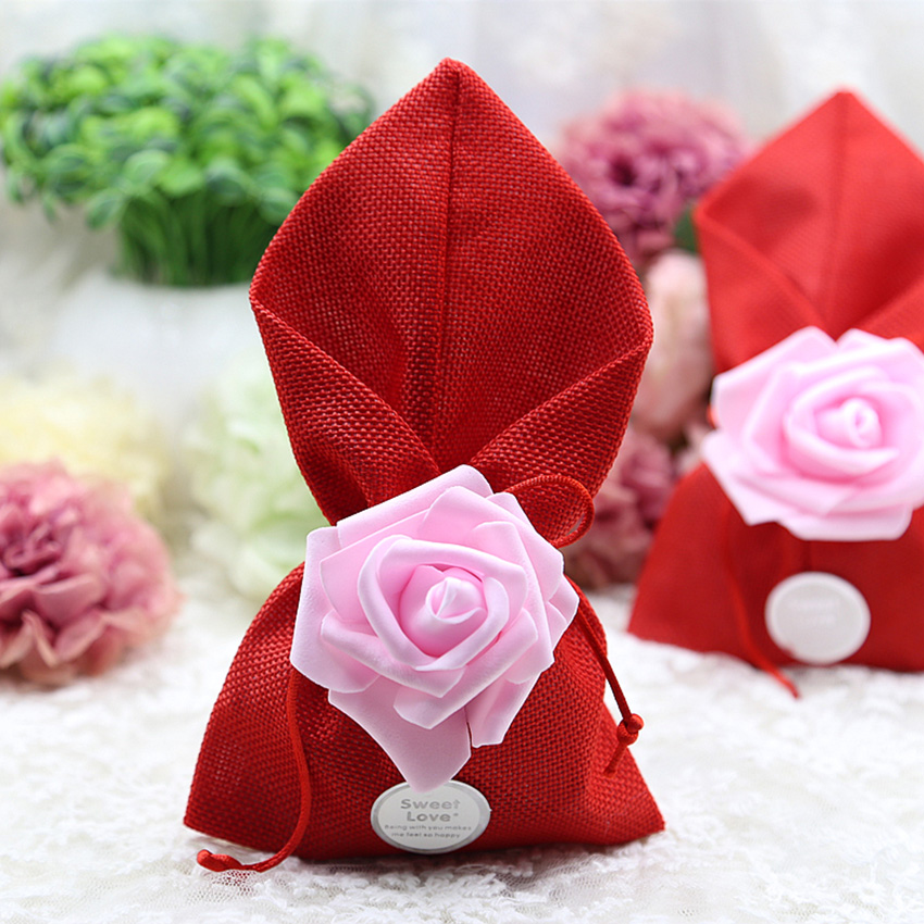 50pcs lot Wedding Candy Box Linen Cloth gift bag baby shower boy Party Supplies Bonbonniere Birthday packaging box Gift Bags in Gift Bags Wrapping Supplies from Home Garden