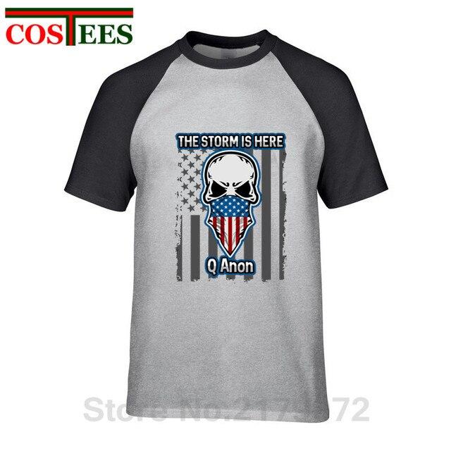 Cráneo Q Anon T camisa la tormenta está aquí patriótica americana bandera camiseta QAnon la libertad de movimiento de camiseta en blanco conejo Tee