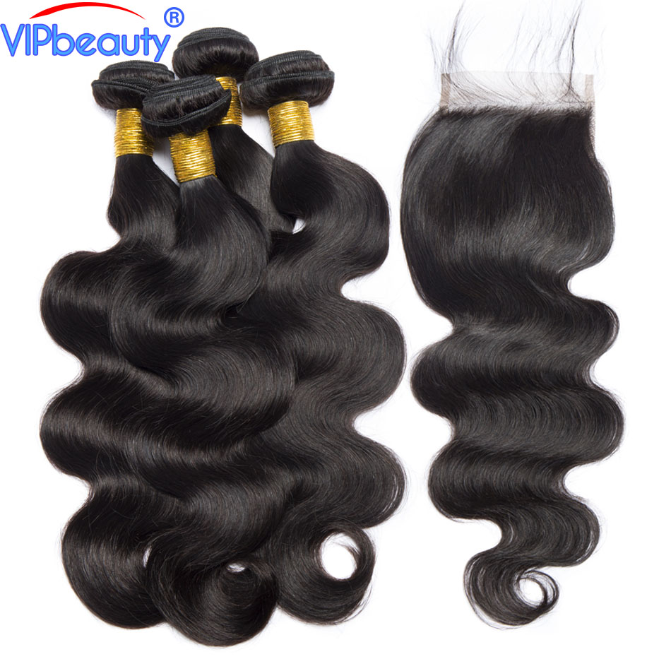 Vip beauty Brazilian body wave bundles with closure non remy hair extension human hair 3 bundles with closure 1b