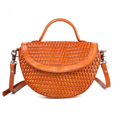 novelty retro genuine leather woven semicircle crossbody bag for women summer real leather cute one shoulder messenger bagnovelty retro genuine leather woven semicircle crossbody bag for women summer real leather cute one shoulder messenger bag